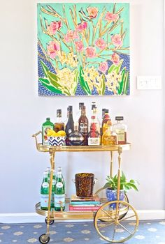pretty painting and bar cart - I would love to have one of these