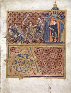 Fig. 8: Duke Wenceslas murdered by his brother Boleslav, Gumpold's Legend of St Wenceslas, illumination 21r from a copy of the legend in the codex kept in the library of Wolfenbüttel, created before 1006. Credit: Auskunft der Herzog August Bibliothek, Lessingplatz 1, D-38304 Wölfenbüttel