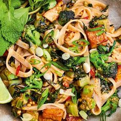 Meera Sodha's easy vegan tofu pad Thai recipe is packed with flavour thanks to a delicious peanut butter sauce and is a perfect meat-free midweek meal. Thai Recipes, Asian Recipes, Vegetarian Recipes, Cooking Recipes, Tofu Pad Thai, Pad Thai Sauce, Shrimp And Eggs, Fresh Lime Juice, Fresh Mint