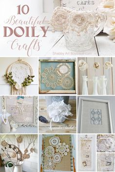 10 Beautiful Doily Craft Projects To Make - Shabby Art Boutique Paper Doily Crafts, Doily Art, Doilies Crafts, Paper Doilies, Crochet Doilies, Yarn Crafts, Diy Crafts, Victorian Crafts, Vintage Crafts