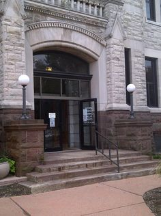 The entrance to the Greene County Courthouse in Xenia, Ohio.
