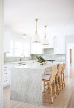 Kitchen Countertops, Kitchen Island, White Quartzite Countertops, Kitchen Cabinets, Taj Mahal Quartzite, Kitchen Design, Kitchen Decor, Kitchen Ideas, Kitchen Inspiration
