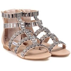 Steve Madden Cameoo Crystal Embroidery Gladiator Sandals ($87) ❤ liked on Polyvore featuring shoes, sandals, nude, steve-madden shoes, nude shoes, greek sandals, gladiator sandals shoes and steve madden footwear