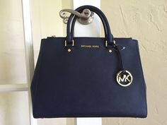 MICHAEL Michael Kors Large Sutton Satchel Saffiano Leather Navy 30S4GTVS7L #MichaelKors #Satchel