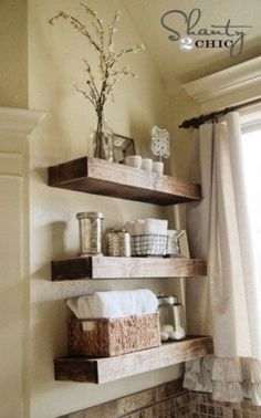 Easy Floating Shelf Tutorial. Maybe for the bathroom in the