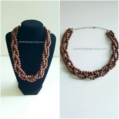 Hey, I found this really awesome Etsy listing at https://www.etsy.com/listing/266428413/brown-statement-necklace-chunky-bib