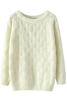 Chic Textured Solid Cable Knit Sweater