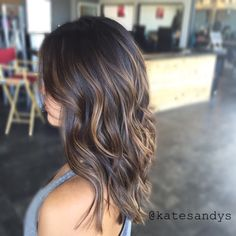 Chocolate brown balayage highlights medium ash blonde