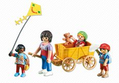 Mother with Children and Wagon - 6439 - PLAYMOBIL® USA