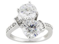 Bella Luce (R) 7.37ctw Diamond Simulant Round& Baguette Rhodium Over Silver Ring (4.34ctw Dew)