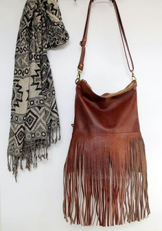 ee062948a0eb60 Bohemian fringe bag, cognac leather fringe bag, cognac brown boho bag,  festival bag, leather crossb