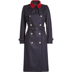 The Kooples Wool Trench Coat (28.295 RUB) ❤ liked on Polyvore featuring outerwear, coats, blue, navy wool coat, fitted coat, wool coat, fitted trench coat and the kooples coat