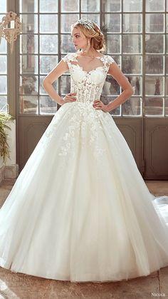 nicole spose bridal 2017 cap sleeve illusion jewel sweetheart ball gown wedding dress (niab17072) mv
