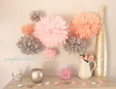 Wedding Decor 10 Tissue  Poms - Girl Nursery Decor - Girl Birthday Decor-Bridal Shower-Engagement-Pink and Gray-Peach