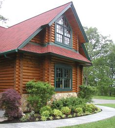 log house trim colors - blueish green trim