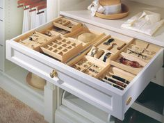 [Cabinet Accessories] Top Jewelry Drawer Organizers With 30 Pictures. Make Your Closet Look Like A Chic Boutique Hgtv Nursery And Jewelry Drawer Dividers Jewelry Drawer Organizer Velvet Closet Organizer With Drawers, Jewelry Organizer Drawer, Dresser Organization, Closet Drawers, Jewelry Drawer, Diy Drawers, Drawer Dividers, Drawer Organisers, Closet Storage