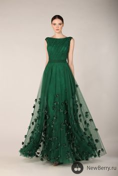 Translucent Emerald gown in Tony Ward