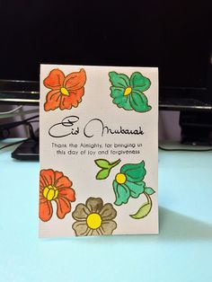Eid Mubarak~Making this card for my Muslim friend. Using Eid Greetings and Floral Motifs, both stamp sets from Altenew.  ~18 July 2015~