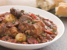 Add Spanish flavors to bring out the unique rabbit flavor. The chorizo, wine and beans give this stew a delicious heartiness, making it a pe. Rabbit Stew, Rabbit Food, Chowder Recipes, Soup Recipes, Chorizo, Casserole Recipes, Crockpot Recipes, White Meat, Convenience Food