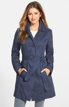 Free shipping and returns on London Fog Polka Dot Single Breasted Trench Coat at Nordstrom.com. Warning: You may find yourself jumping in puddles. A single-breasted trench coat comes out to play in a crisp polka dot print. Classic details like epaulets, belted cuffs and a button-down storm flap ground the style.