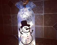 Snowman Family Wine Bottle Trio Wine Bottle by Hannahsfunkyjunk