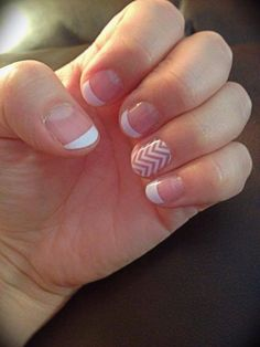 Jamberry Nails White Tip with White Chevron Accent Nail #frenchtip