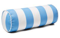 Cabana Stripe 8x20 Outdoor Bolster Pillow, Blue $55.00