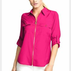 """🎄 GIFTWORTHY 🎄 🎉Host Pick🎉 Michael Kors Blouse 💞FINALPRICE💞Hot Pink collared zip up with gold hardware, convertible sleeves, is 27"""" in length and is 100% polyester. In REALLY excellent barely used condition. Michael Kors Tops Blouses"""