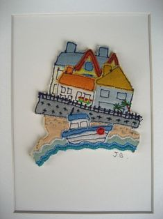 Habour scene ~ textiles fabrics with free-motion embroidered details