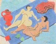 Jean Metzinger (French, 1883 - 1956) Two Nudes on the Beach (Deux Nues sur la Plage), 1945 Gouache on paper, 21,7 x 27,2 cm
