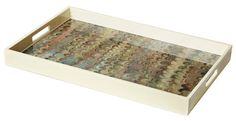 Grey Peacock Rectangle  Handcrafted lacquered tray with grey marble peacock handmade paper inlay with cream trim.
