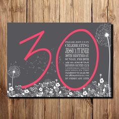 30th BIRTHDAY INVITATION for women, Birthday Invitation 30th, 30th birthday…