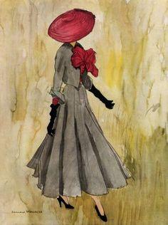 Christian Dior - 1948 - Fashion illustration by Bernard Blossac