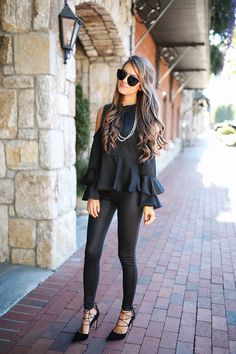 Southern Curls & Pearls: All Black Outfit