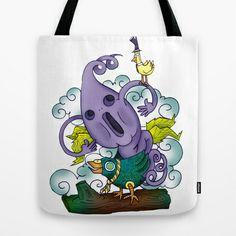 Funny Ghost Tote Bag by Lucia Bellunato - $22.00