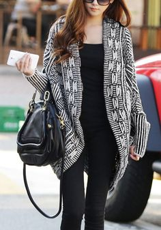 This black and white dolman sleeve cardigan features beautiful woven pattern using stretchable material to keep you cozy and eye-catching. Team this with a anice chunky scarf, a simple white shirt and a pair of sleek leggings or skinnies. | Lookbook Store New Arrivals