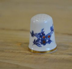 Caverswall china thimble  Blue floral design  by TheVintageCoopUK