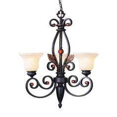 """Adorned with jewelry accents and delicate leaf details, this captivating chandelier showcases a scrolling silhouette and iridescent art glass shades.   Product: ChandelierConstruction Material: Glass and metalColor: Black Features:  Indoor useJewel accents Accommodates: (3) 100 Watt medium base bulbs - not includedDimensions: 31"""" H x 24"""" Diameter"""