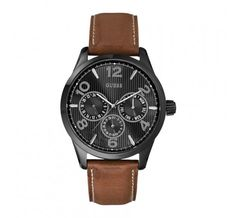 This practical watch offers multi-functional features such as calendar and date display, and it comes with a limited warranty. The contrast between the colors gives this watch a gorgeous look, making it the perfect, everyday accessory for you. Brown Leather, Plating, Quartz, Watches, Accessories, Black, Products, Wristwatches, Black People