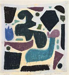 Paul Klee  'Enzianisches Stilleben'  1938 Pastell auf batist auf karton (Pastel on thin cloth (batist is turkish for thin cloth) on cardboard  38.5 x 37 cm