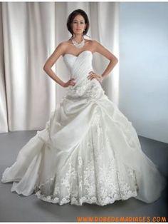Robe de mariée 2013 organza tulle appliques bustier en coeu...