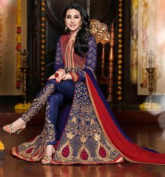 USD 47.49 Karisma Kapoor Blue Georgette Bollywood Suit 54561