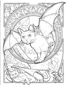 Fantasy cat coloring page