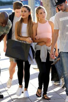 Ariana Grande rocking the Vans Classic Slip On. White Vans Outfit a7caf0c6f