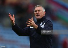 Nigel Pearson, manager of Leicester City reacts during the Barclays Premier League match between Burnley and Leicester City at Turf Moor on April 25, 2015 in Burnley, England.