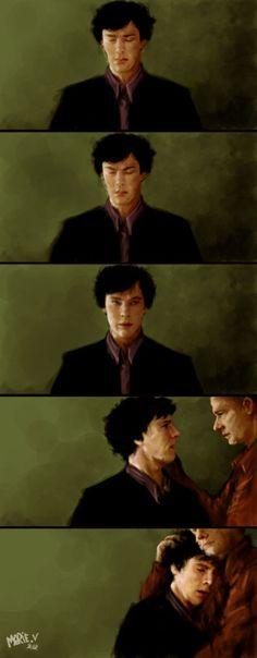 Sherlock Fan Art that is Beautiful and Touching and Johnlock. I am having so many Johnlock feelings lately. -- I think this isn't even about Johnlock, I think it's just how John will always be there for Sherlock Sherlock John, Sherlock Holmes Bbc, Benedict Cumberbatch Sherlock, Watson Sherlock, Sherlock Quotes, Jim Moriarty, Sherlock Fan Art, Funny Sherlock, Gotham