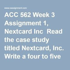 ACC 562 Week 3 Assignment 1, Nextcard Inc  Read the case study titled Nextcard, Inc. Write a four to five (4-5) page paper in which you:  1. Given PCAOB oversight of accounting firms and the AICPA Code of Conduct, discuss whether or not you believe that public accounting firms can successfully manipulate audit work papers and records of clients engaged in fraudulent activity. 2. Analyze the fraud risk factors presented during the 2000 Nextcard audit and how each should have impacted the…
