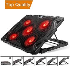 GSUMMER Notebook Cooling Pad Adjustable Mounts Notebook Stand Height Angle Strong Wind Speed Design Laptop Cooler