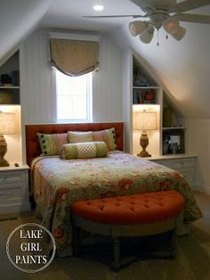 I absolutely love this bed between built ins.  Just beautiful!   Lake Girl Paints