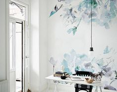 Spring Floral Removable Wallpaper Watercolor wall mural Peel